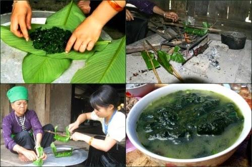 Rêu nướng - Món ăn yêu thích của người Tày