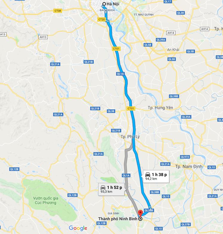 Bản đồ chỉ dẫn Hà Nội Đi Ninh Bình