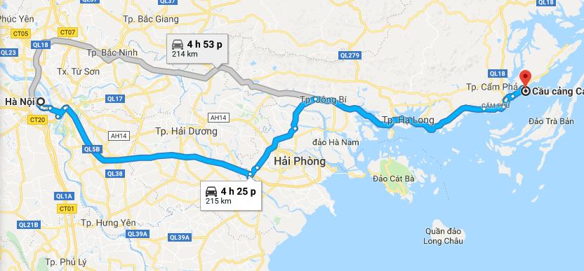Bản đồ từ từ Google từ Hà Nội đến cảng Cái Rồng