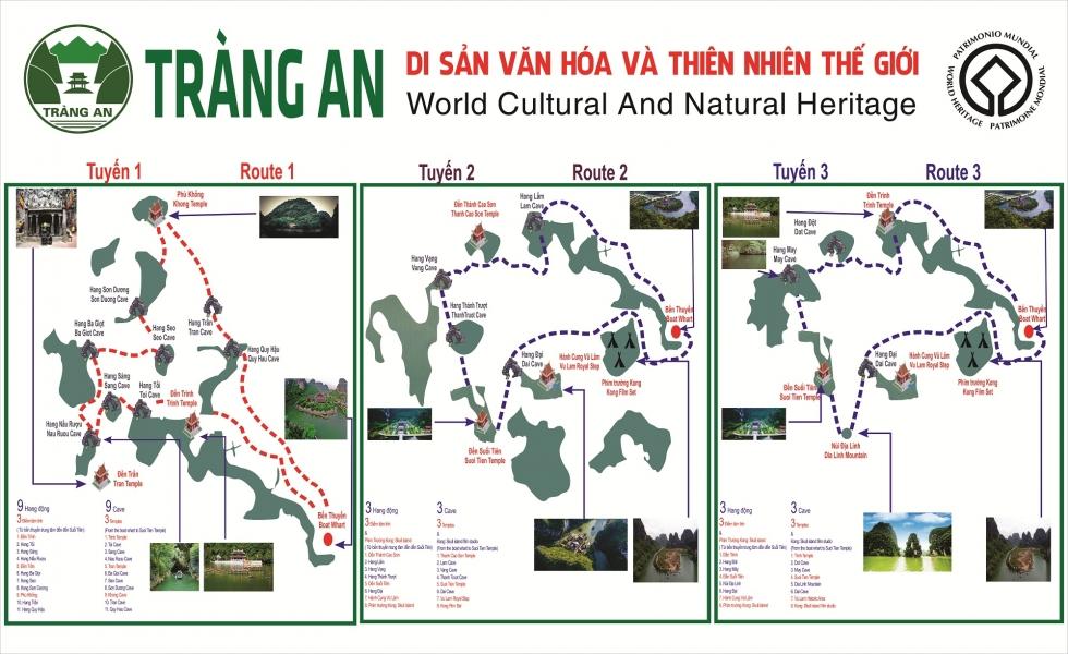 Sơ đồ 3 tuyến đường thủy của Khu Du lịch Sinh thái Tràng An