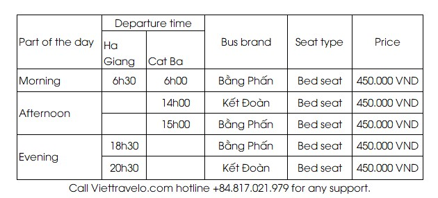 Ha Giang-Cat ba bus timetable