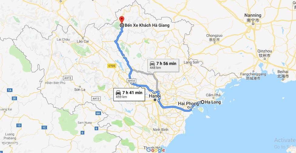 Lộ trình từ Hà Giang đến Hạ Long, Quảng Ninh theo bản đồ Google Map.