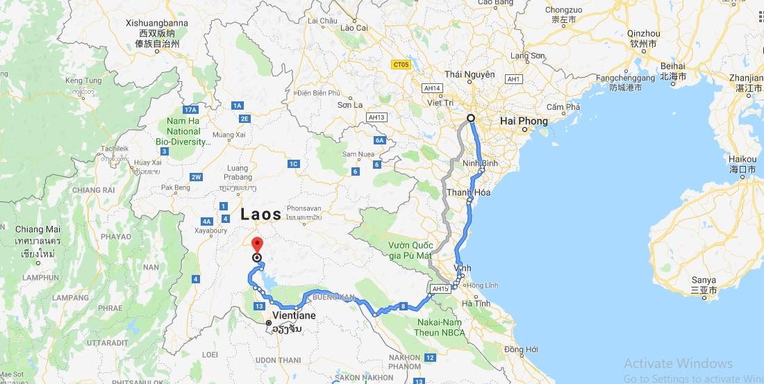 Quãng đường Hà Nội - Vang Vieng dài khoảng 860km.