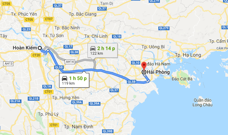 Cat Ba is about 160km from Ha Noi
