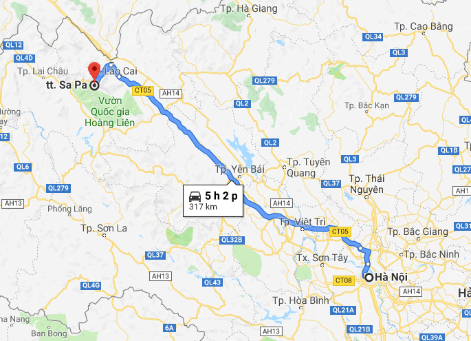 Sapa is about 317km from Hanoi