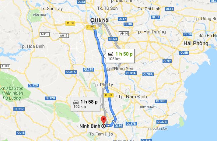 Ninh Bình cách Hà Nội khoảng 105km