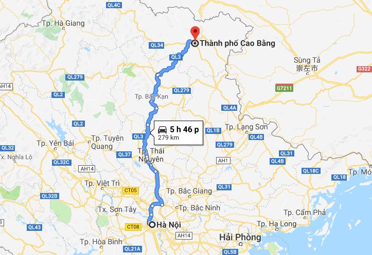 Cao Bằng cách Hà Nội khoảng 280km về phía Đông Bắc