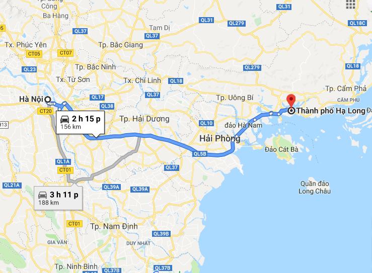 Từ Hạ Long đến Hà Nội khoảng 156km