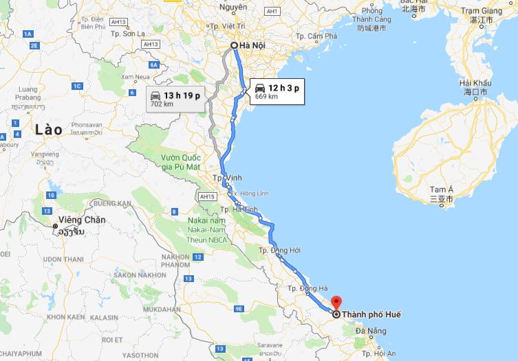 Từ Huế đến Hà Nội khoảng 654km