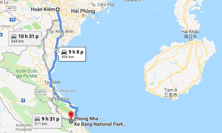 Phong Nha cách Hà Nội khoảng 500km
