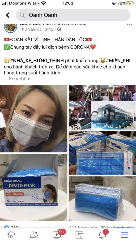 Nhà xe Hưng Thinh phát khẩu trang miễn phí cho tất cả hành khách khi lên xe
